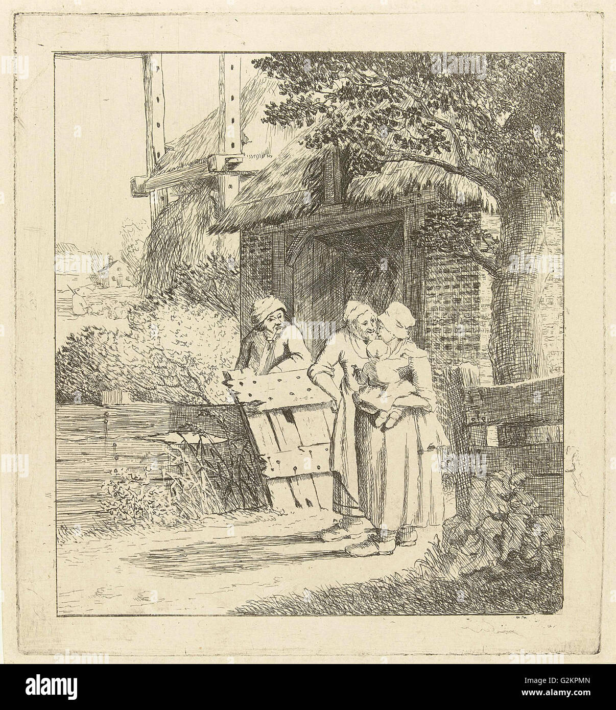 Two women and a man on a farm, print maker: Marie Lambertine Coclers, 1776 - 1815 - Stock Image