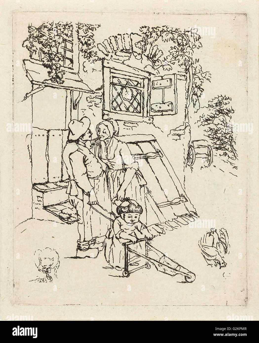 Farmer and his wife with child for a house, Marie Lambertine Coclers, 1776 - 1815 - Stock Image