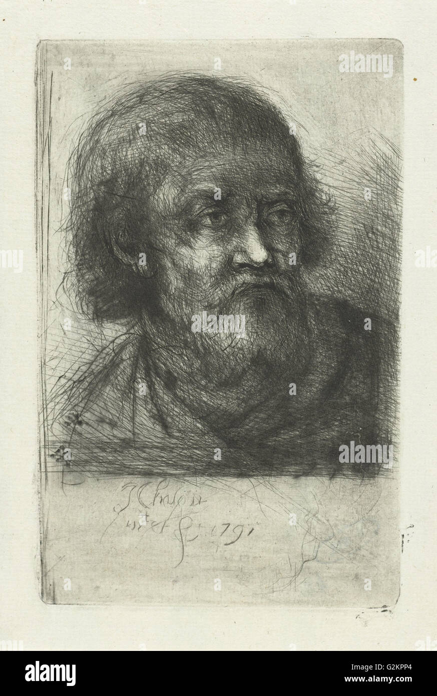 Old man, Jan Chalon, 1791 - Stock Image