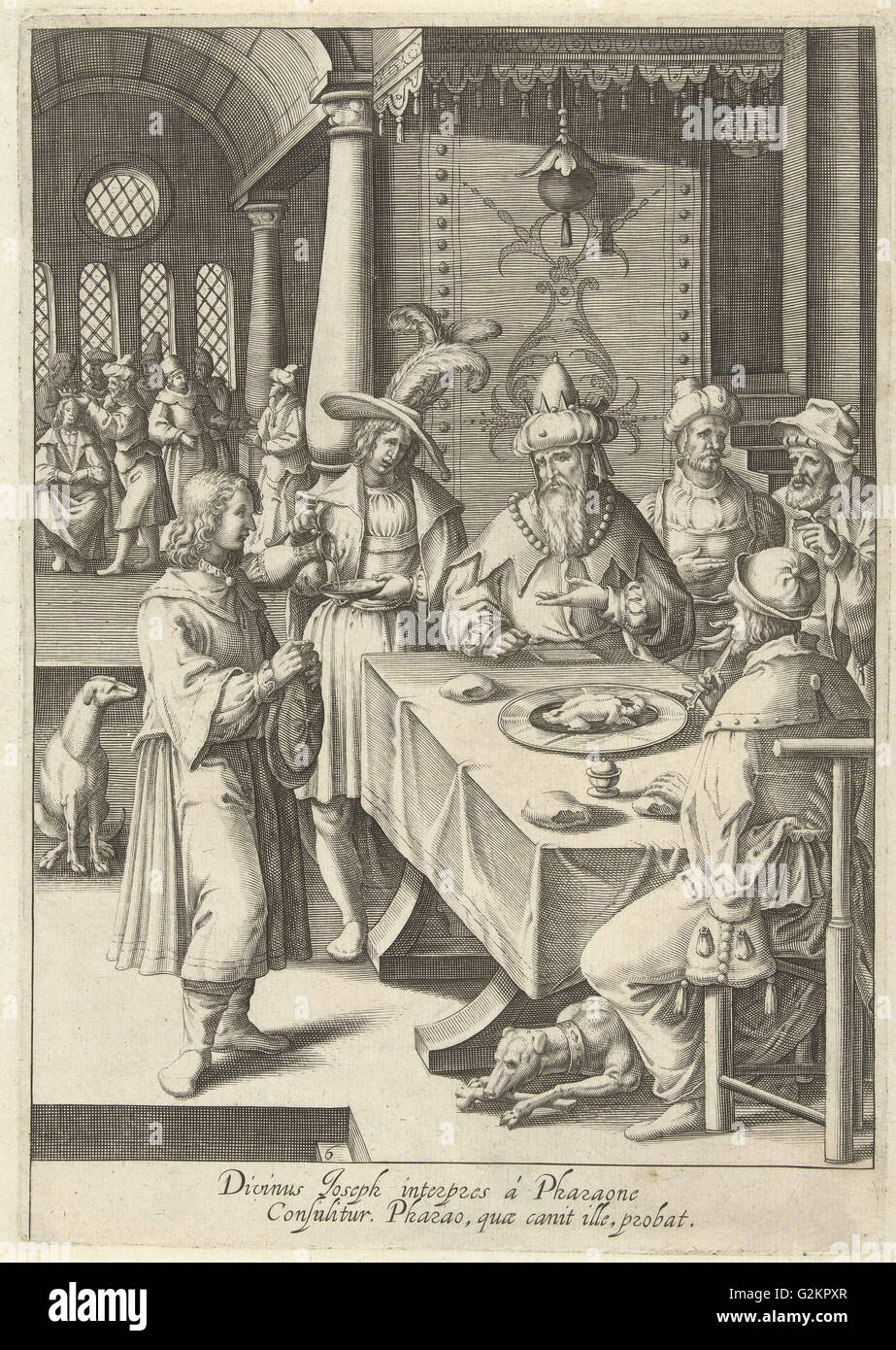 Joseph interprets the dreams of Pharaoh, print maker: Robert de Baudous, Lucas van Leyden, 1591 - 1659 - Stock Image