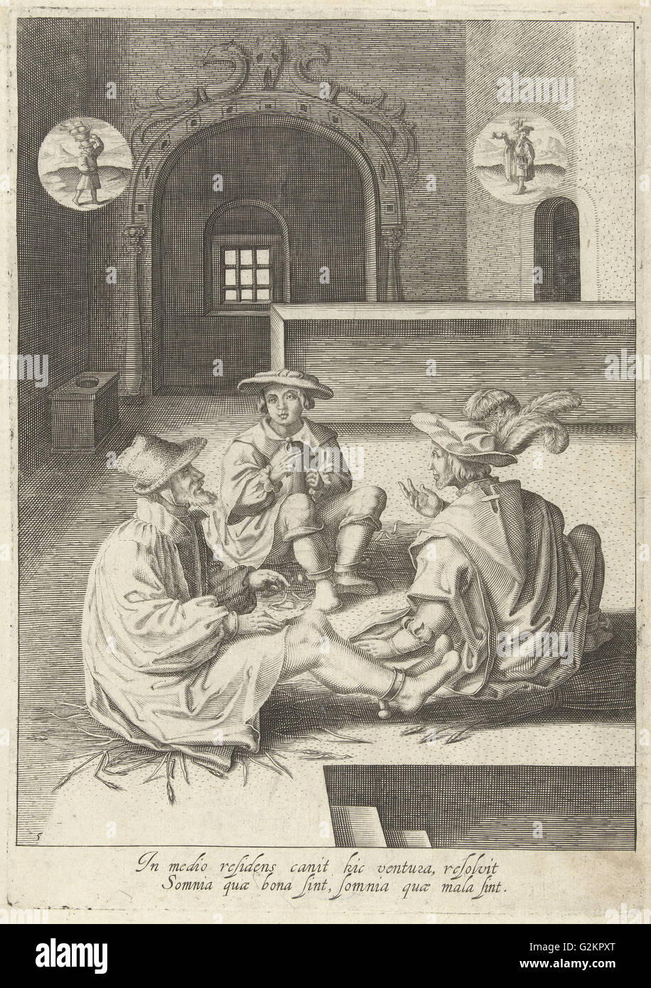 Joseph interprets dreams in prison, Robert de Baudous, Lucas van Leyden, 1591 - 1659 - Stock Image