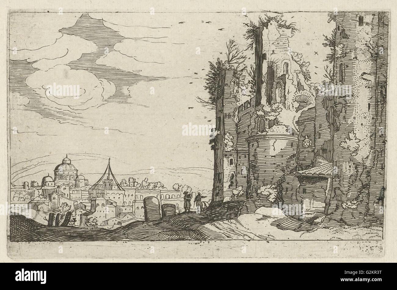 View of Rome from Monte Pincio, Willem van Nieulandt (II), Anonymous, 1594 - 1685 - Stock Image