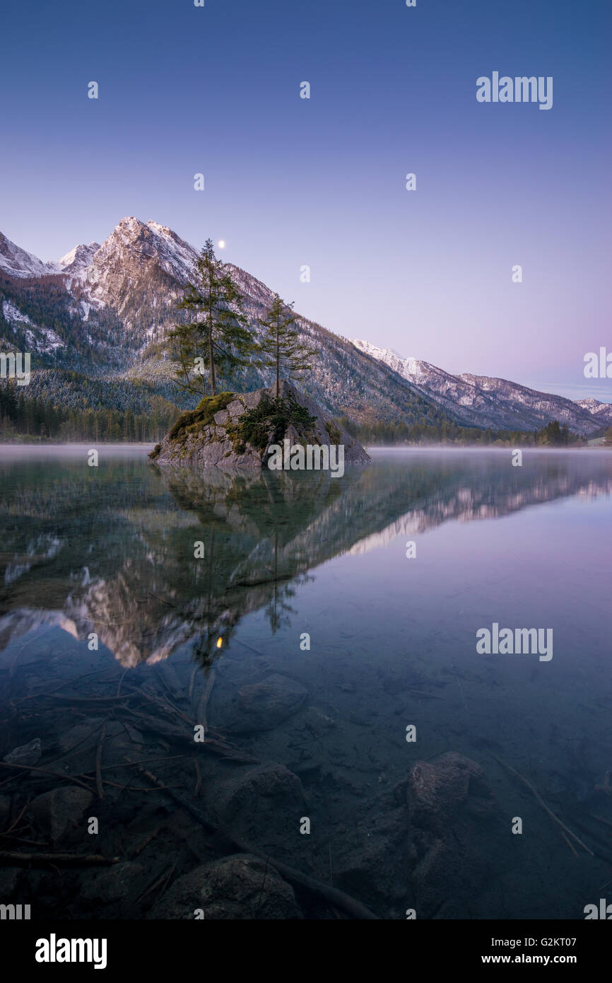 Dawn at lake 'Hintersee', Oberbayern in Germany - Stock Image