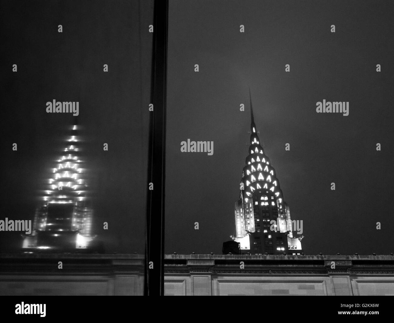 Chrysler Building and Reflection in Store Window, New York City, USA - Stock Image