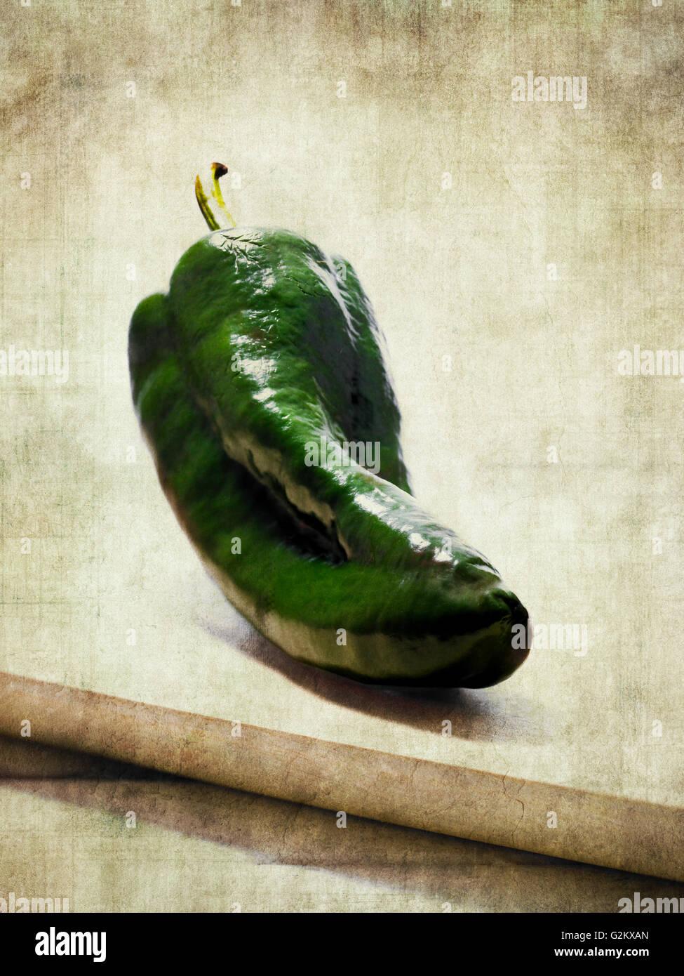 Green Poblano Pepper Stock Photo