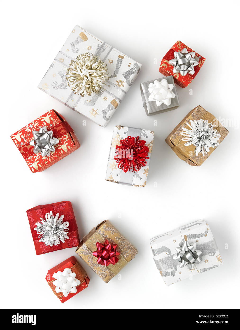 Group of christmas presents - Stock Image