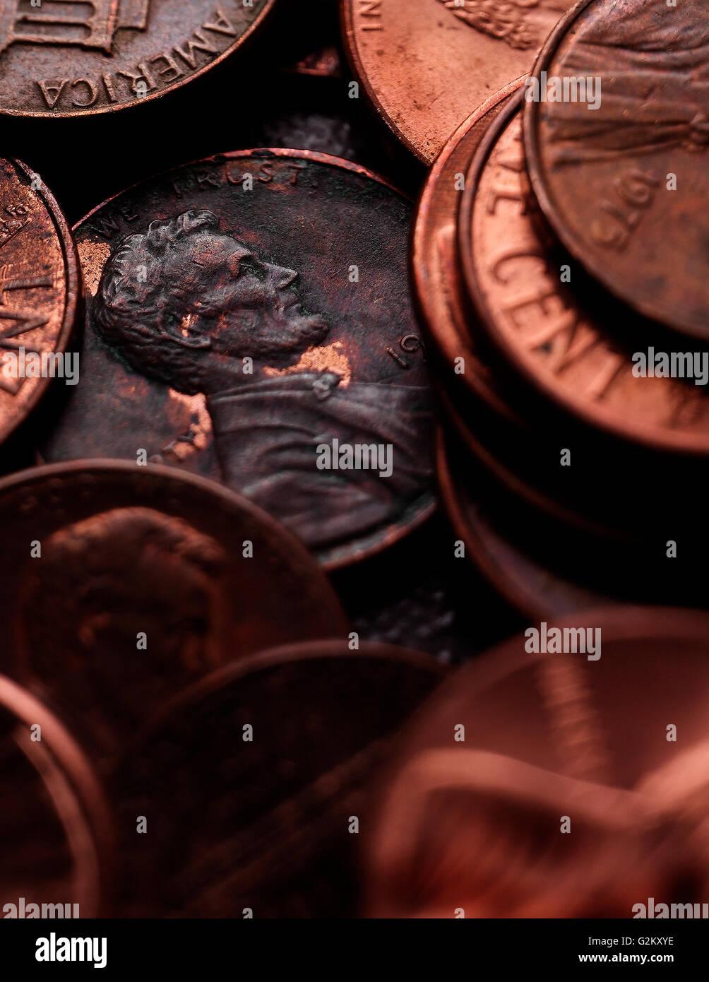 Pennies Close-up - Stock Image