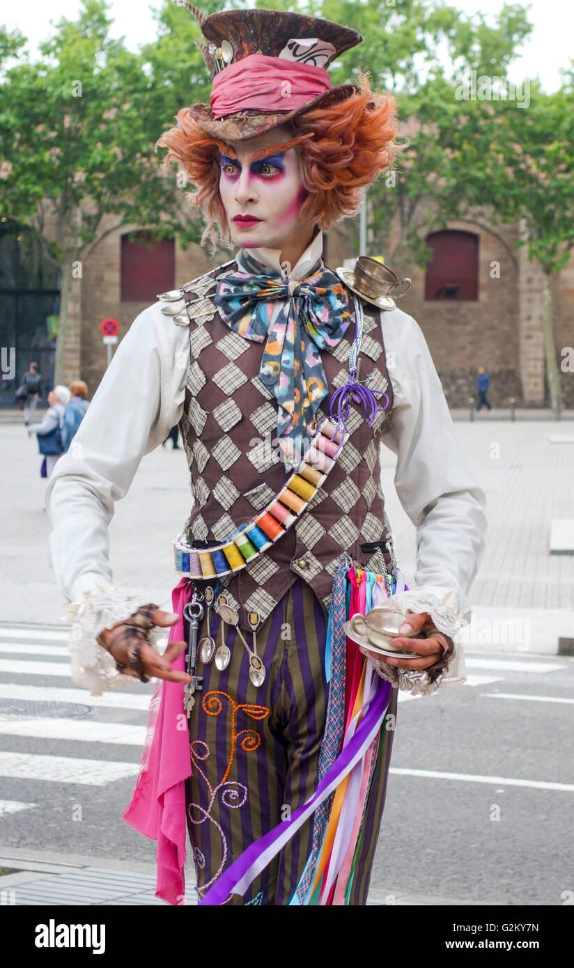 Mad hatter on La Rambla in Barcelona - Stock Image