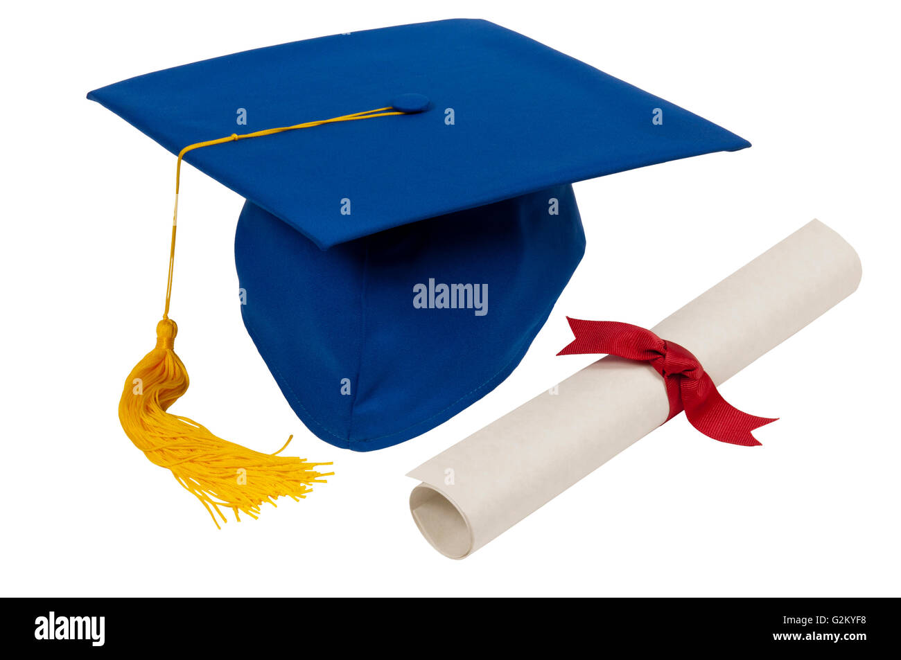 Blue Graduation Hat With Yellow Tassel And Diploma Isolated On White - Stock Image