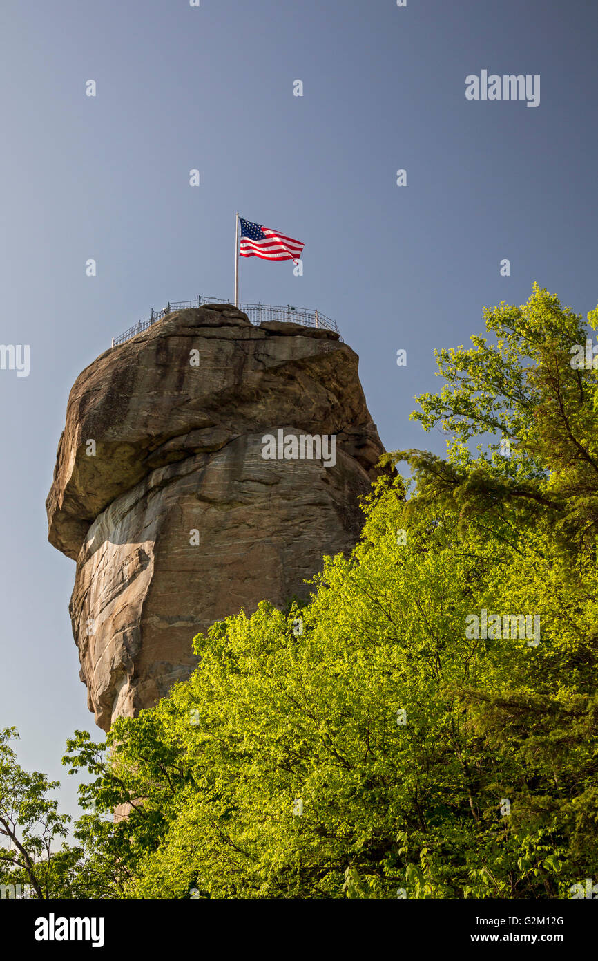 Chimney Rock, North Carolina - Chimney Rock State Park, a tourist attraction featuring a 535-million-year-old rock - Stock Image