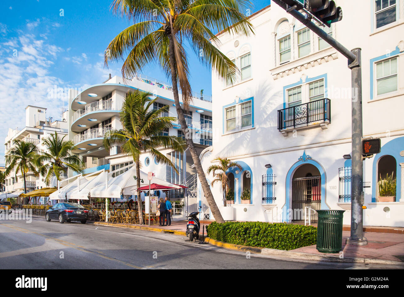 View of landmark hotel and restaurant along Ocean Drive in the Art Deco District of South Beach. - Stock Image