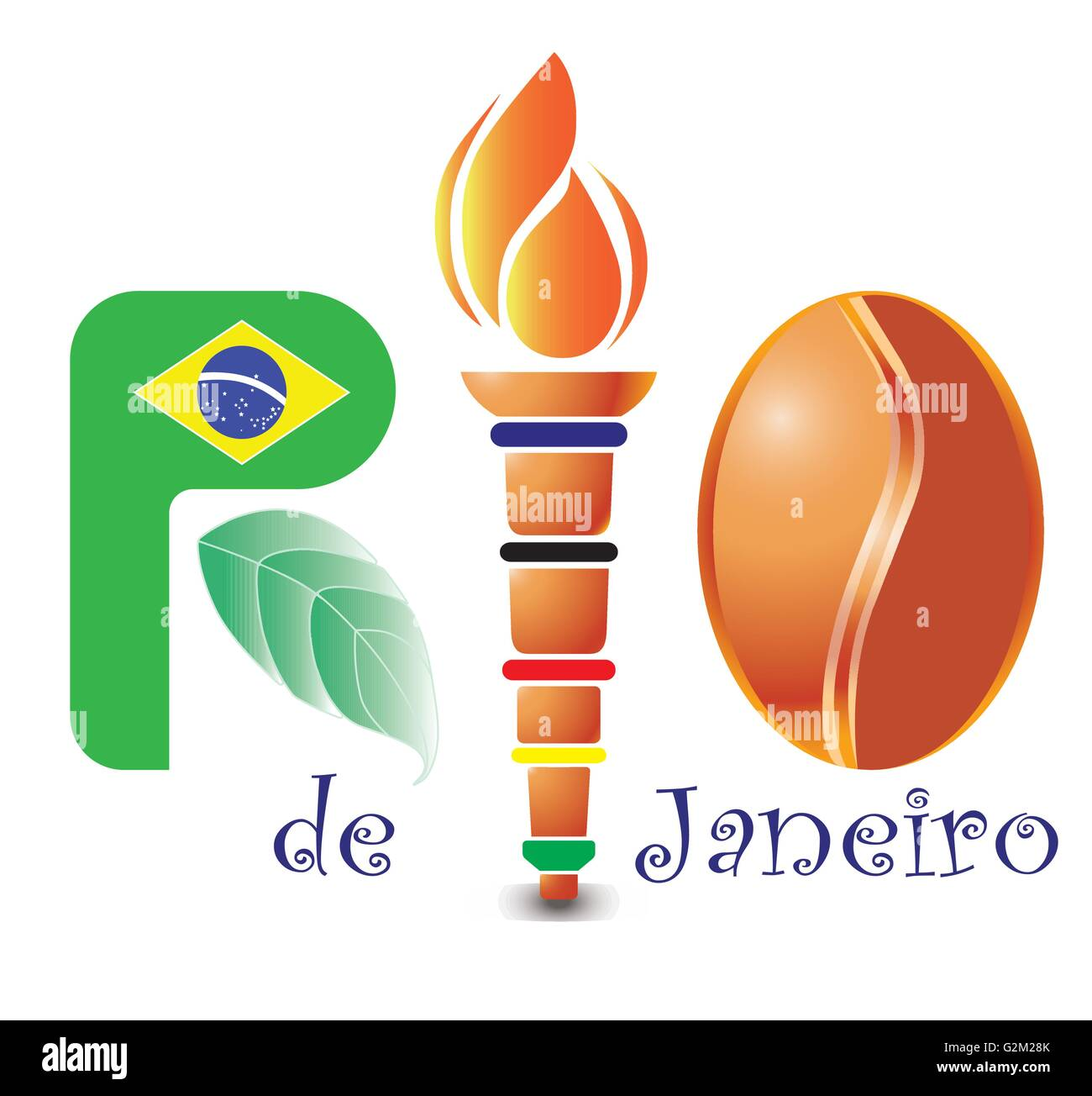 Rio, olympic, torch - Stock Vector