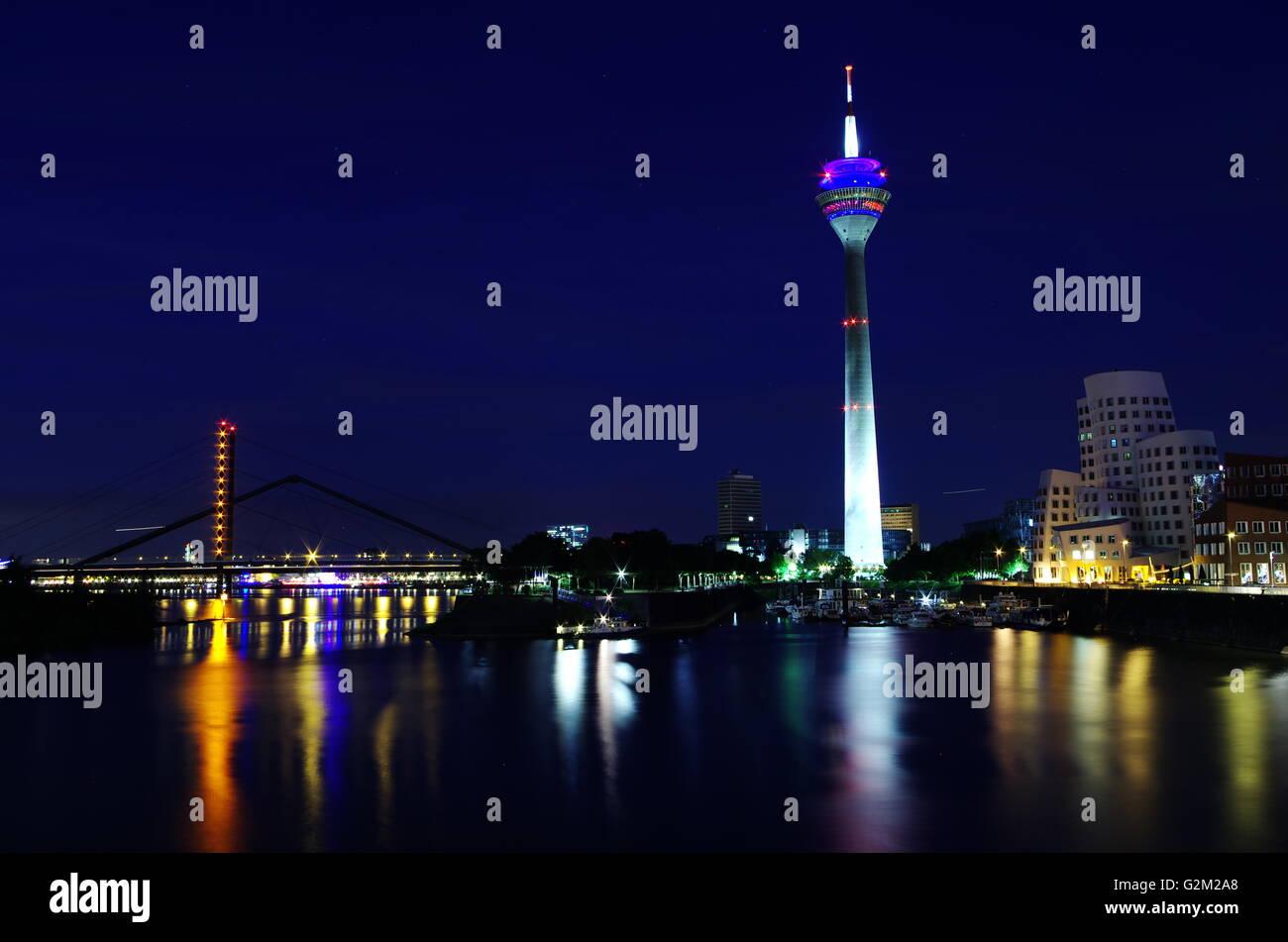 Rheinturm in Düsseldorf - Stock Image