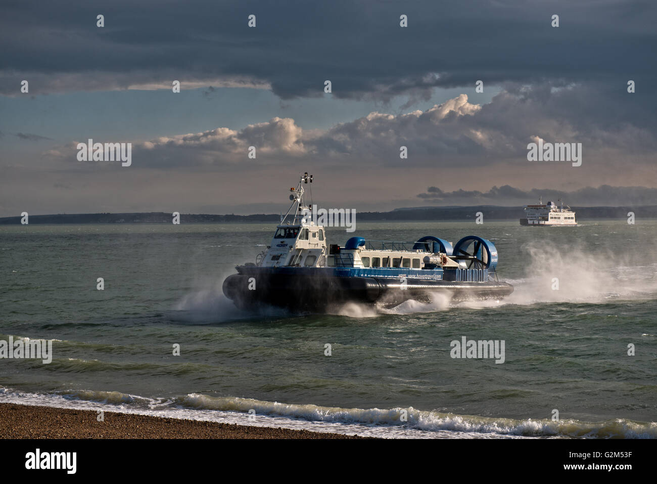 Hovercraft, AP1-88 – Island Express owned Hovertravel arriving at Southsea, Portsmouth, Hampshire, UK - Stock Image