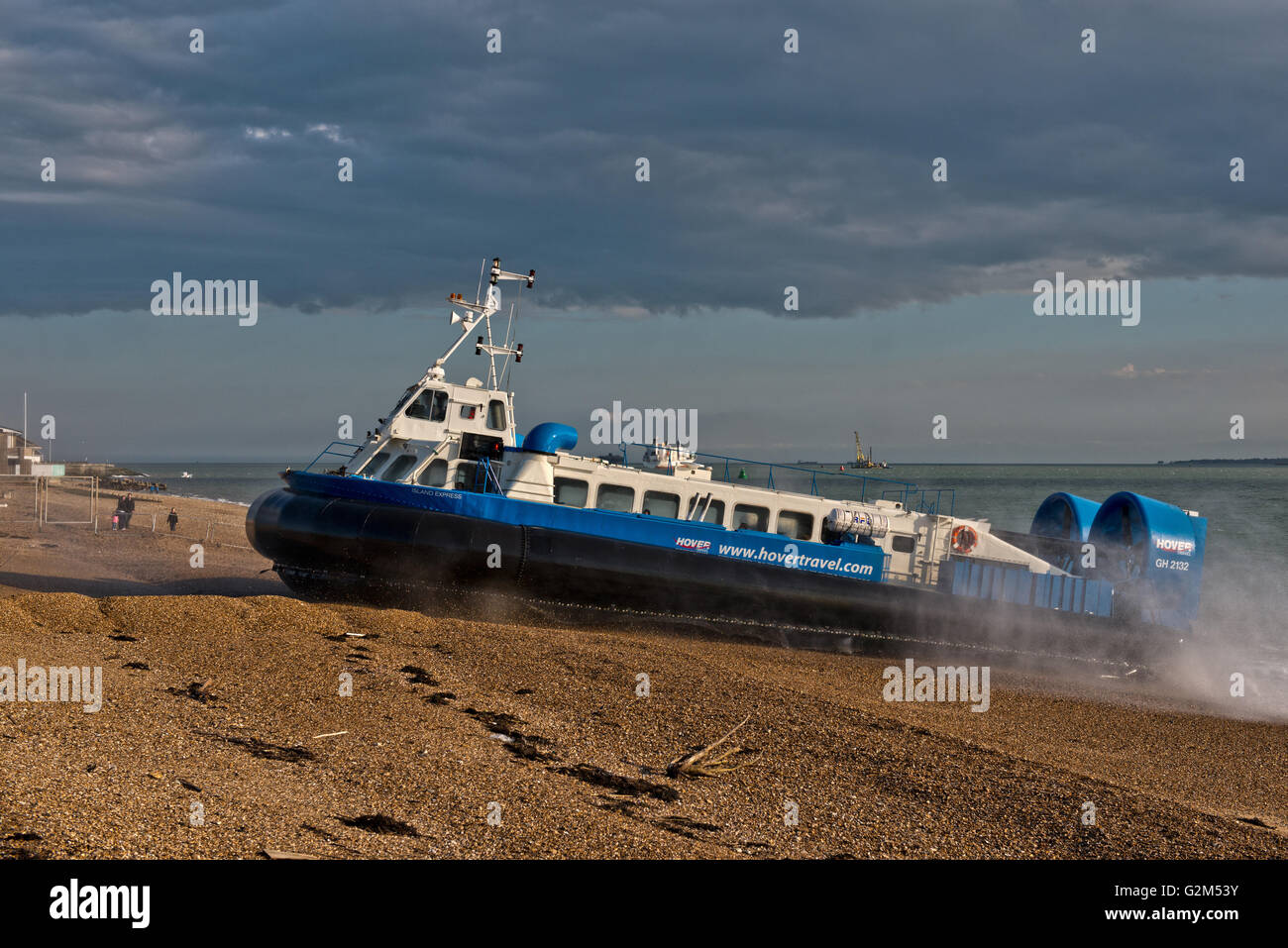 Hovercraft, AP1-88 – Island Express owned Hovertravel arriving at Southsea, Portsmouth, Hampshire, UK Stock Photo