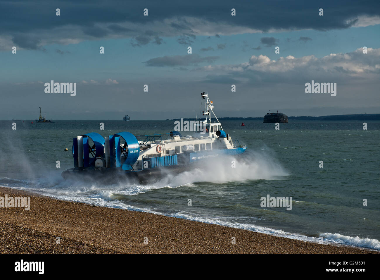 Hovercraft, AP1-88 – Island Express owned Hovertravel traveling to Ryde, Isle of Wight, UK Stock Photo