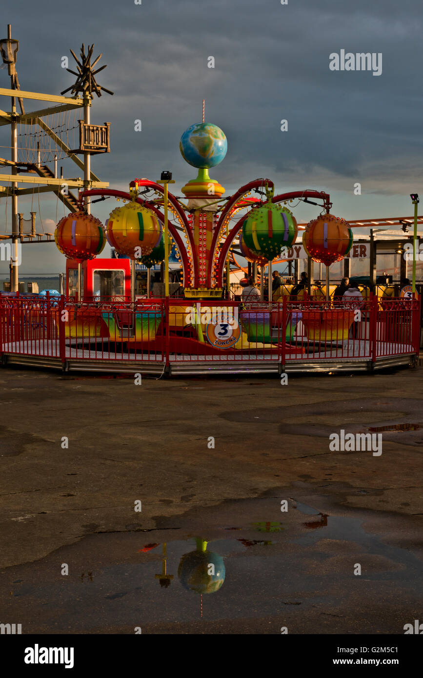 Stormy Sky at Clarence Pier Funfair, Southsea, Portsmouth - Stock Image