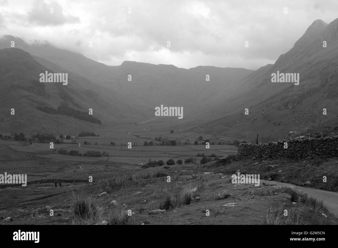 Langdale Pikes between Wrynose and Lingmoor Fells - Stock Image