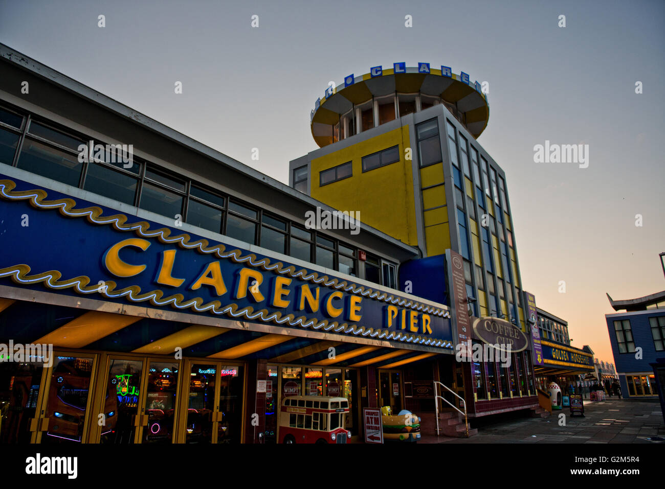 The front entrance to Clarence Pier Funfair and Amusement Arcade at Southsea, Portsmouth, Hampshire, UK Stock Photo