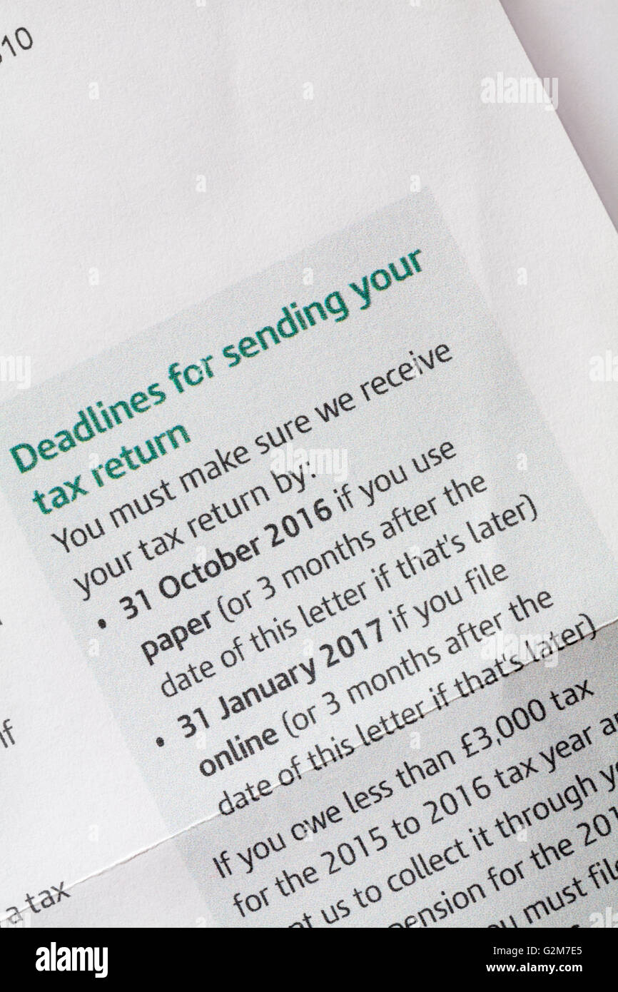 Deadlines for sending your tax return - information on Self Assessment Notice to complete a tax return from HM Revenue - Stock Image
