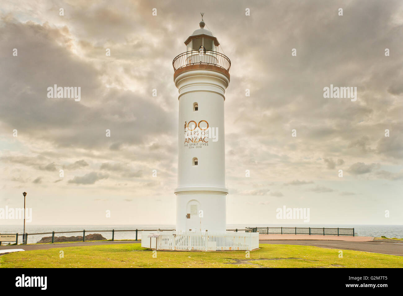 Kiama Lighthouse with its ANZAC Day 100 anniversary tribute. - Stock Image