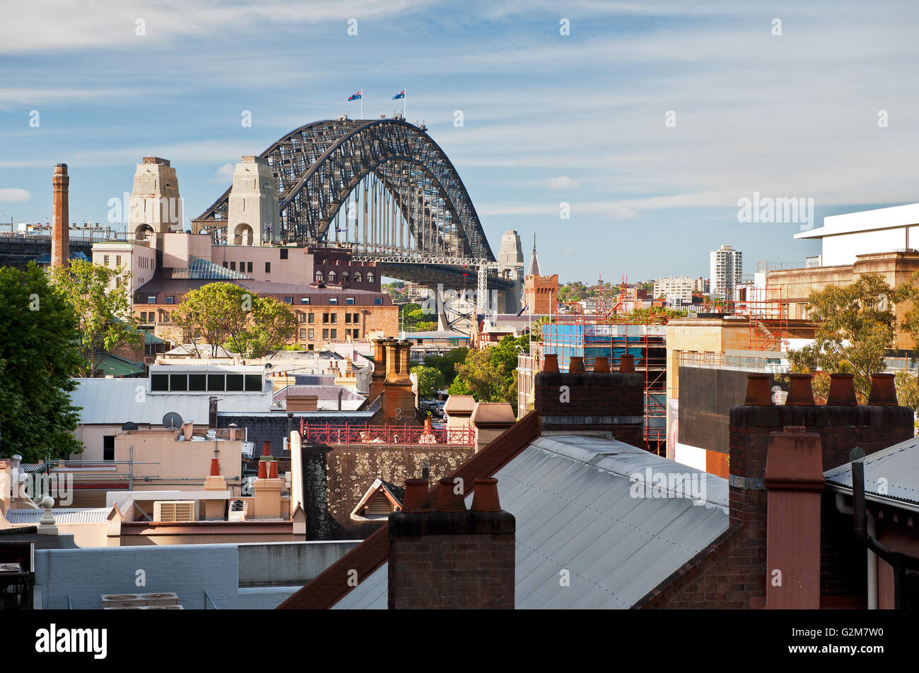 Sydney's 'The Rocks' with the Harbour Bridge. - Stock Image