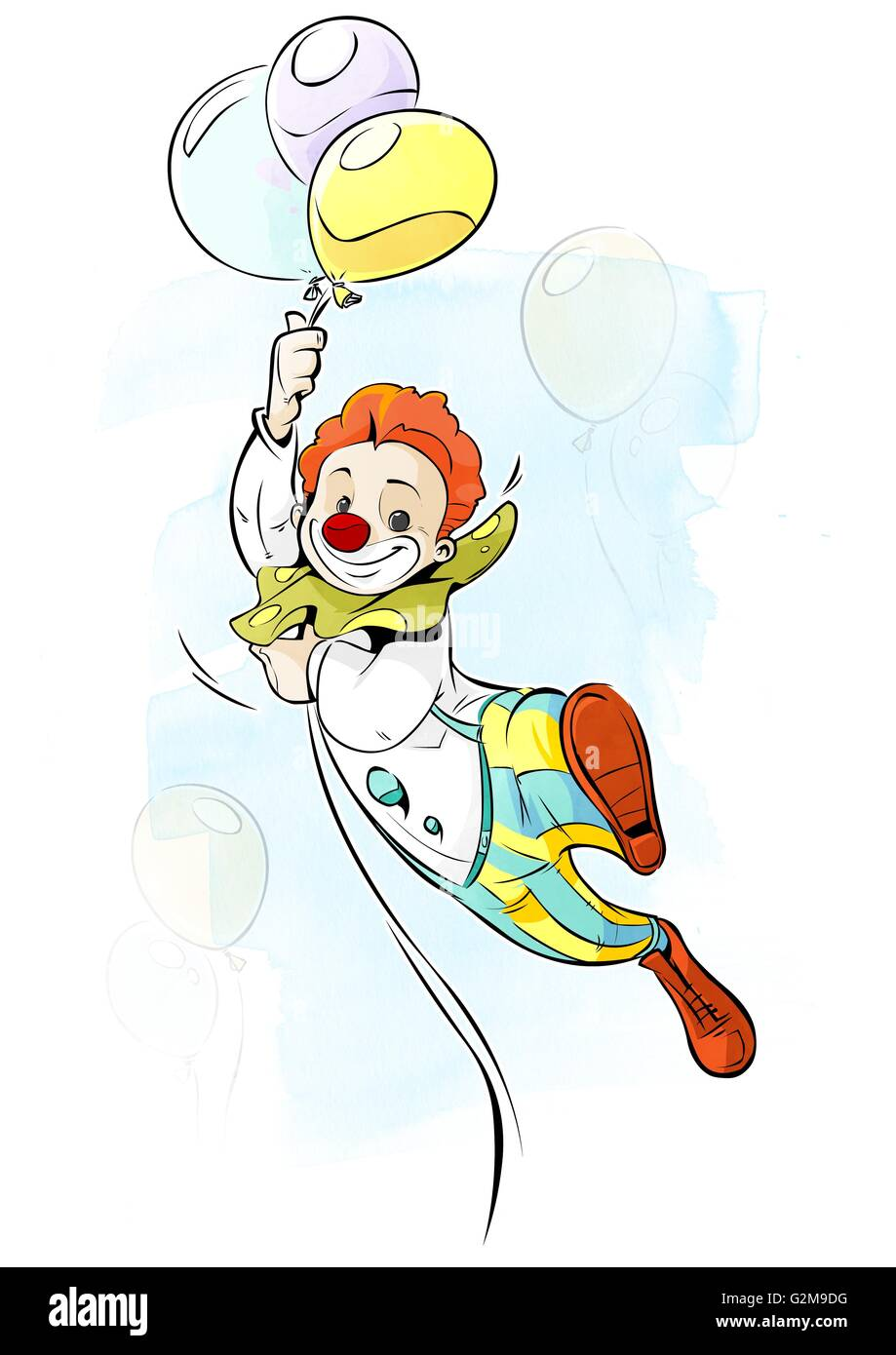 Clown flying on balloons - Stock Image
