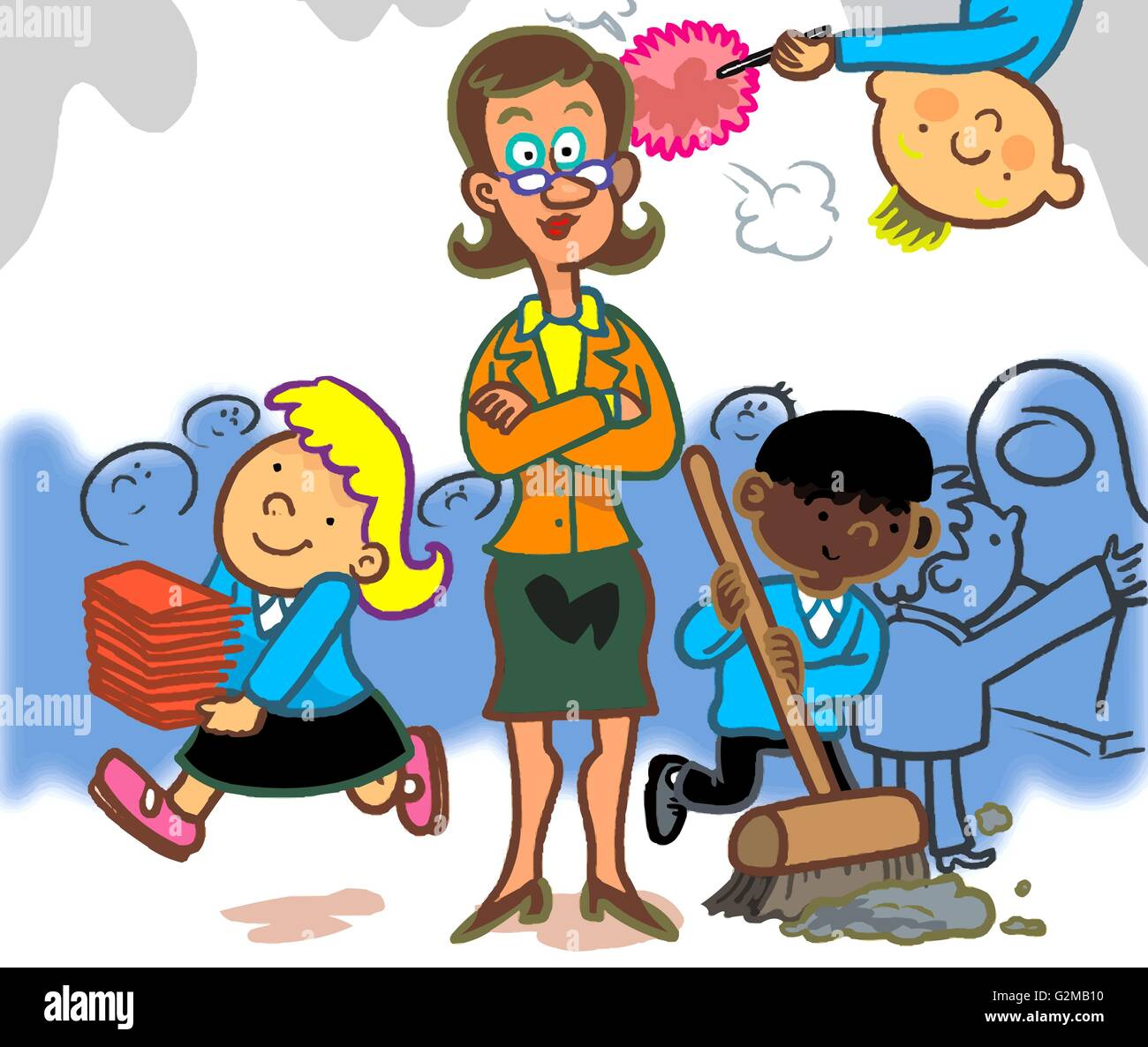 children cleaning classroom stock photo: 104939212 - alamy