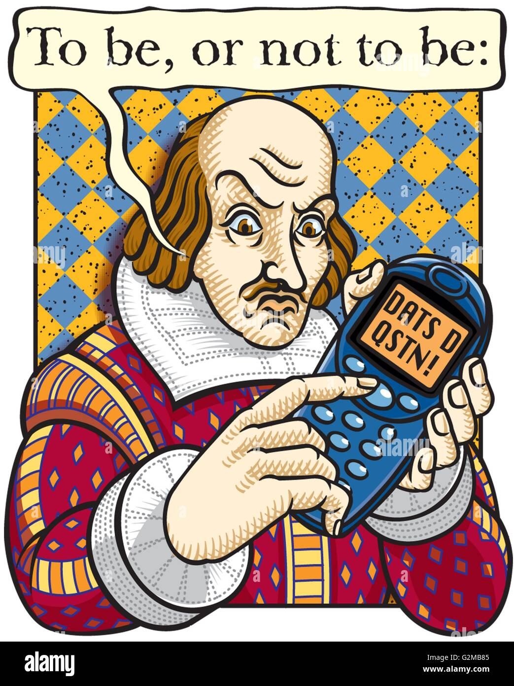 William Shakespeare with mobile phone - Stock Image