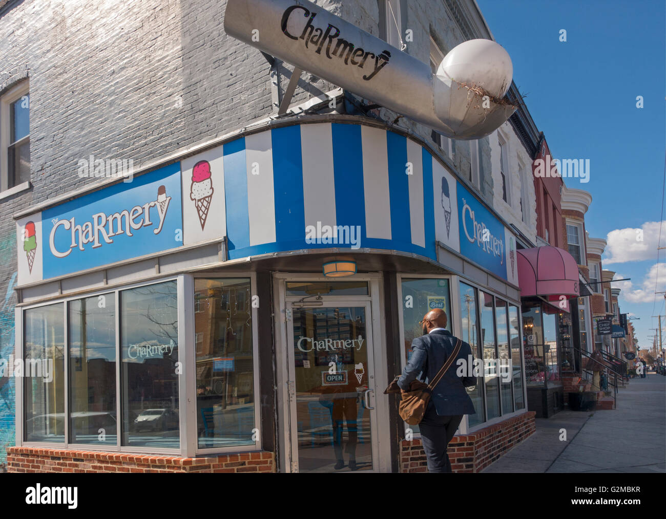 Charmery ice cream shop in Baltimore Maryland - Stock Image