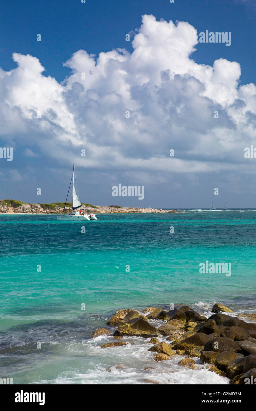 Catamaran off Orient Beach, Saint Martin, West Indies - Stock Image