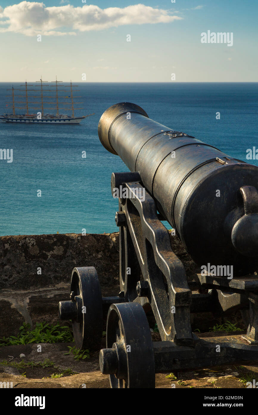 Cannon at Ft George overlooking the Caribbean Sea, St Georges, Grenada, West Indies - Stock Image