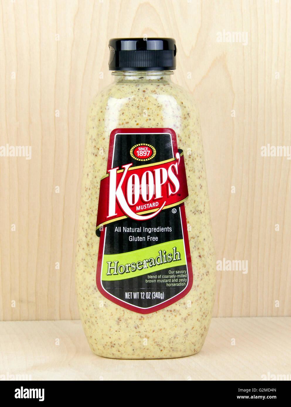 Spencer, Wisconsin, May, 31, 2016  Jar of  Koops' Horseradish mustard   Koops' is an American based company - Stock Image