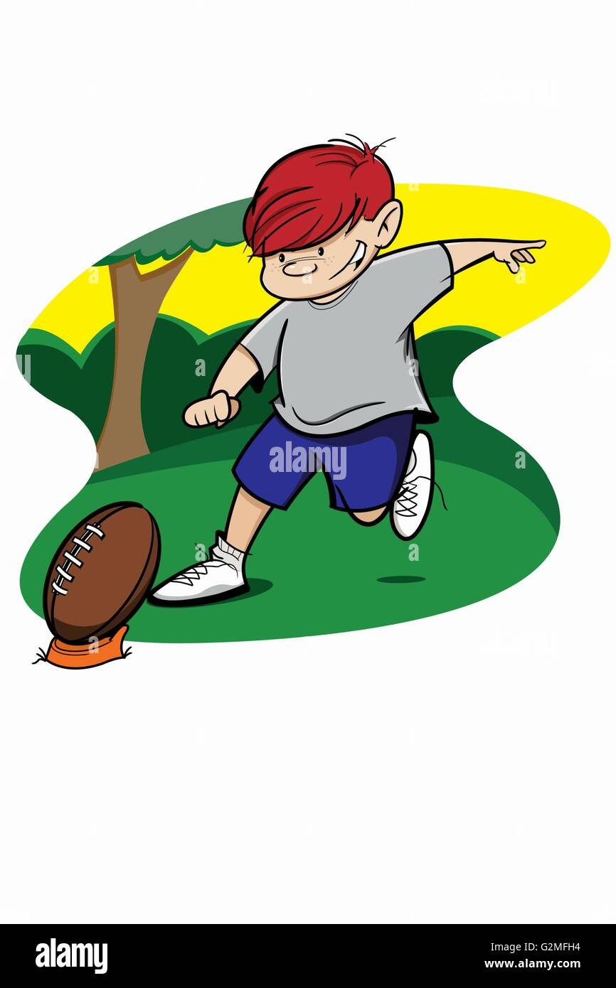 Boy about to hit football - Stock Image