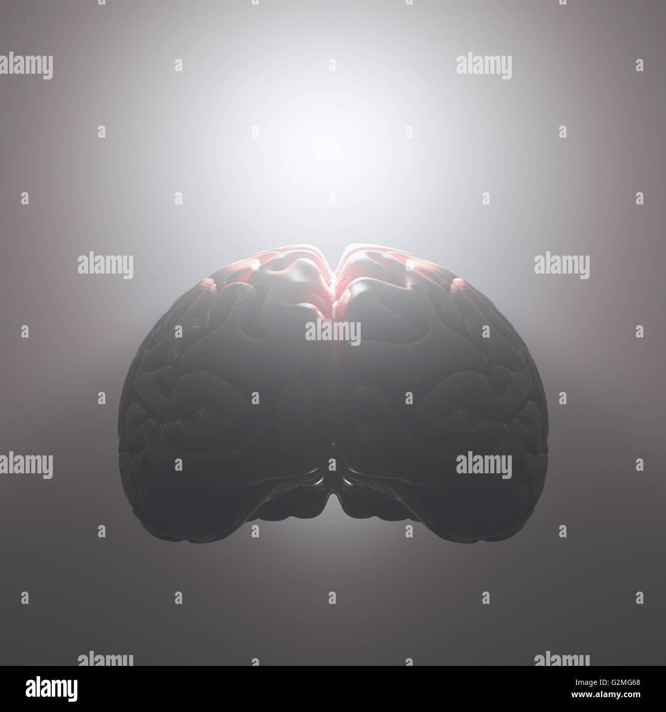Brain floating with a strong light coming from inside. Open and free mind concept. Your text on the light. Clipping - Stock Image