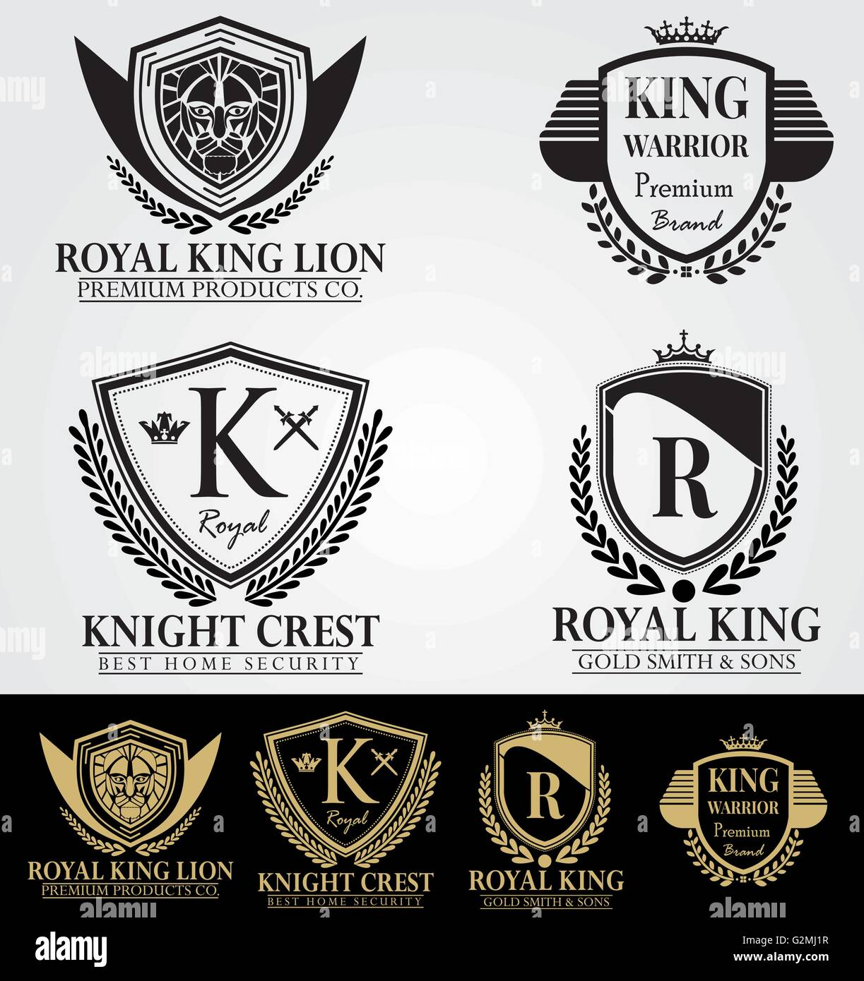Royal Heraldic Elegant Logo Collection – Vintage coat of arms – Fashion & Elegant company logotypes. - Stock Image