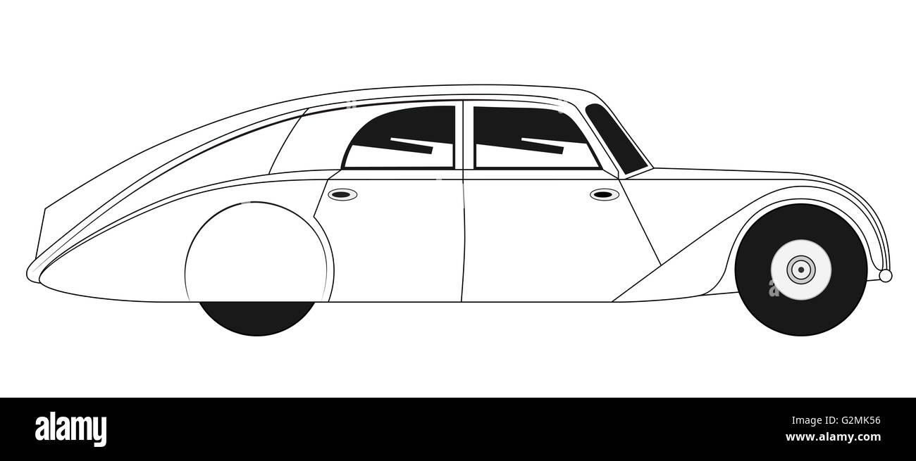 Sedan - vintage model of car - Tatra - Stock Image