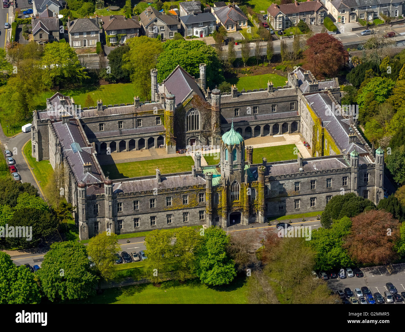 Aerial view, Quadrangle next to the University of Galway, Galway, Galway, COUNTY CLARE, Galway, Ireland, Europe, - Stock Image