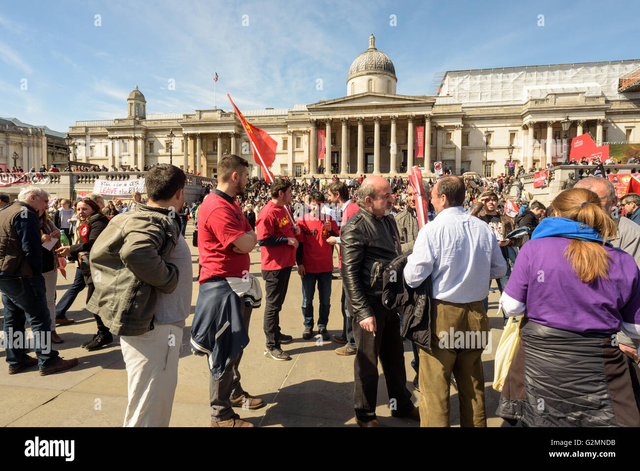 Workers and trade unions activists at the London May Day rally in Trafalgar Square London May 1st - Stock Image