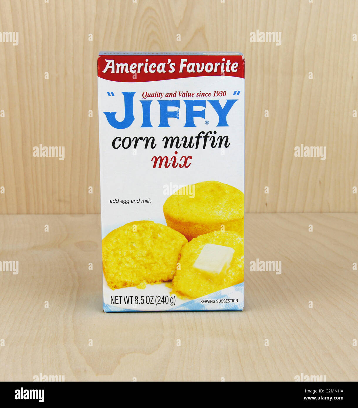 Spencer, Wisconsin, June, 1, 2016  Box of Jiffy Corn Muffin Mix     Jiffy is a brand of baking mixes marketed by - Stock Image