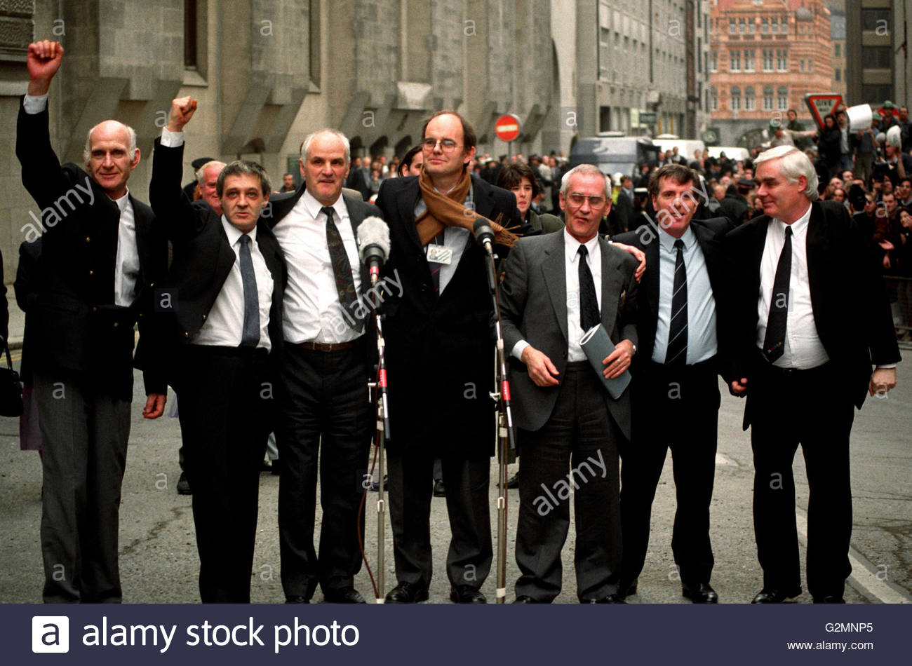 File photo dated 14/03/91 of the Birmingham Six outside the Old Bailey in London, after their convictions were quashed. - Stock Image