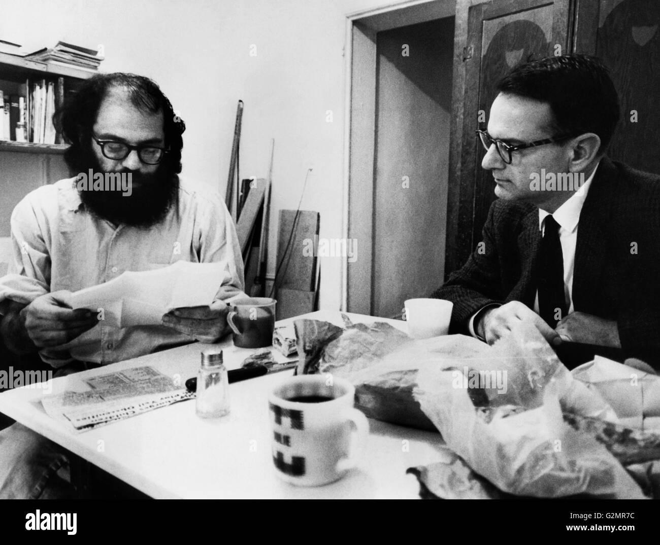 allen ginsberg with max gartenberg,new york 1966 - Stock Image