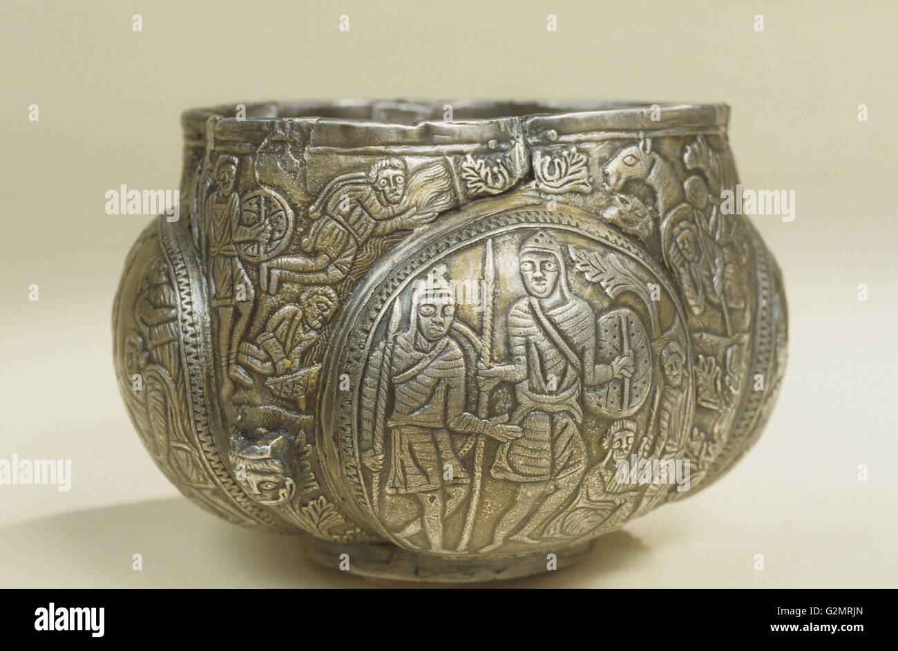 Polish history,silver cup embossed,Century X - Stock Image