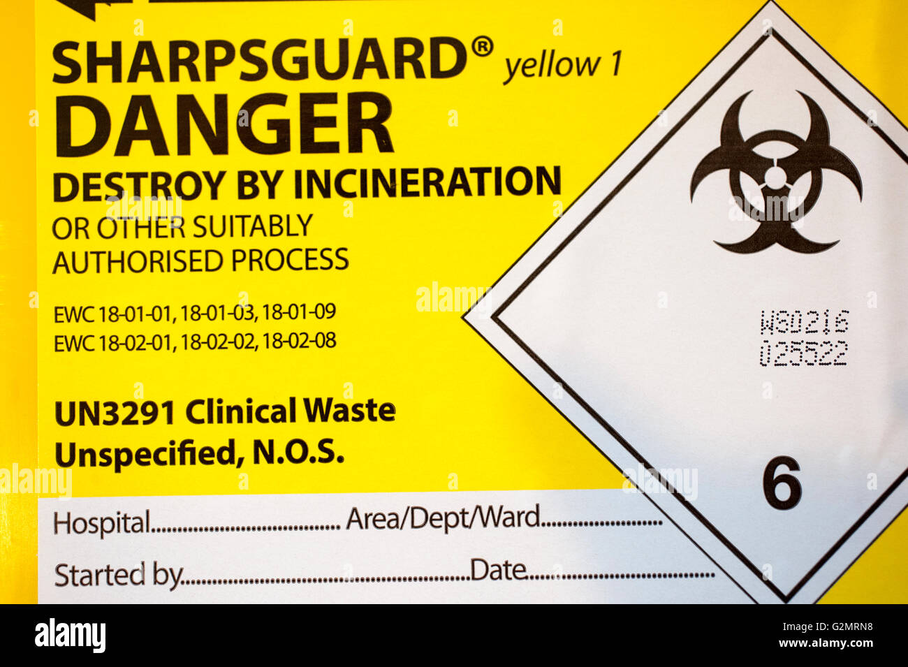 SharpsGuard bin for the safe disposal of medical waste Stock Photo