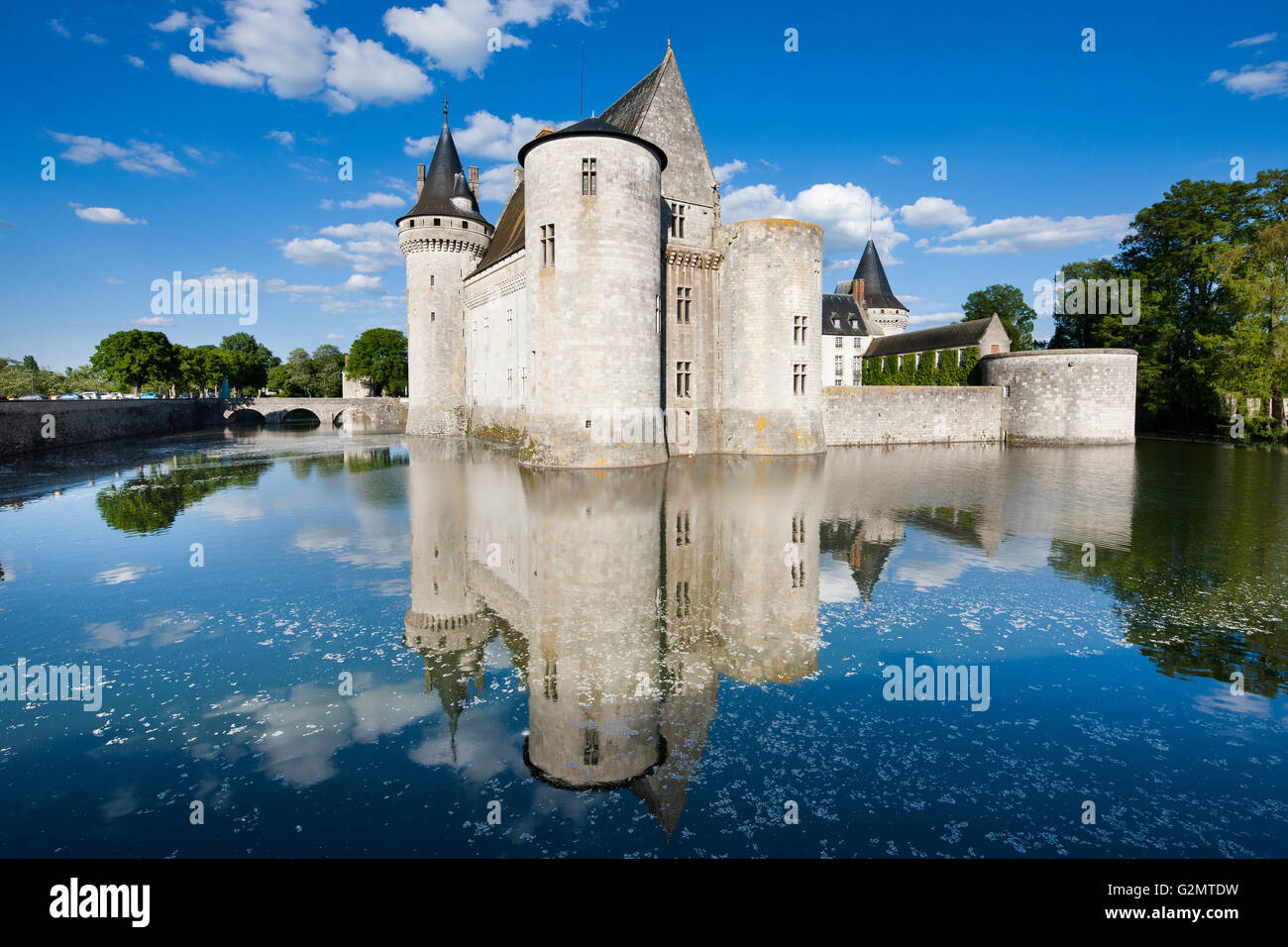 Moated castle, Castle Sully, Sully-sur-Loire, Loiret, Centre Region, France - Stock Image