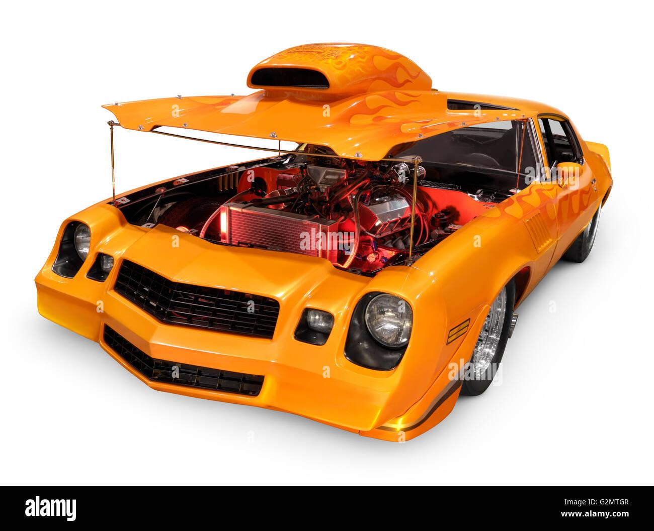 Custom Orange Muscle Car With Open Hood Revealing Powerful Engine