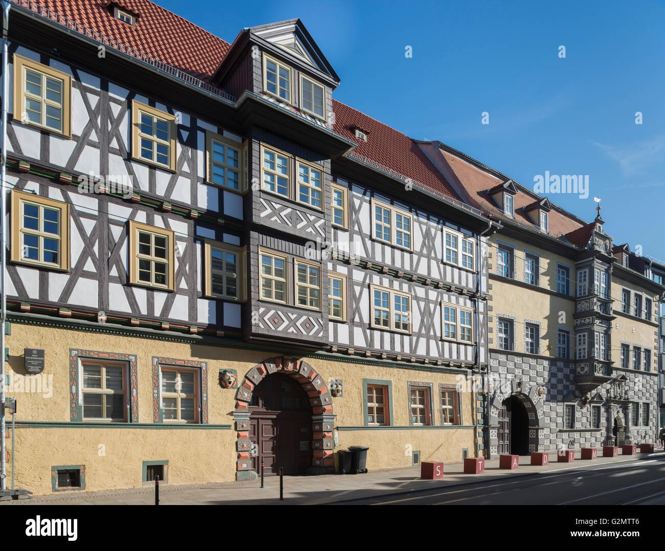 Half-timbered houses, Haus zum Mohrenkopf of 1610, Municipal Museum, Haus zum Stockfisch 1607, Erfurt, Thuringia, - Stock Image