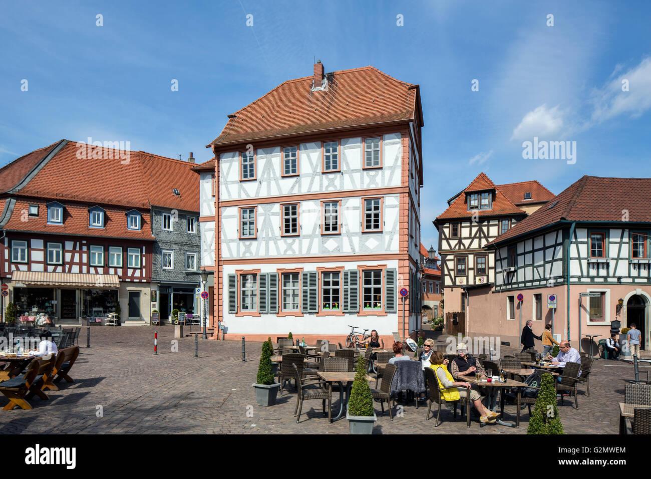 Old Schoolhouse 1703, historic centre, Seligenstadt, Hesse, Germany - Stock Image
