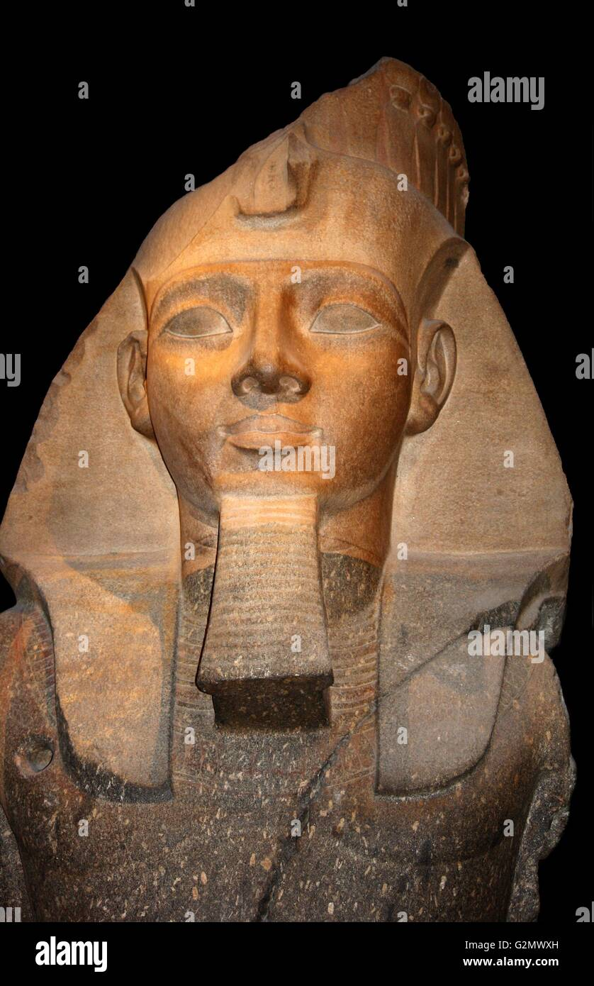Granite statue of Ramesses II, Thebes, Egypt - 19th dynasty, about 1250 BC. Ramesses II succeeded his father Sethos Stock Photo
