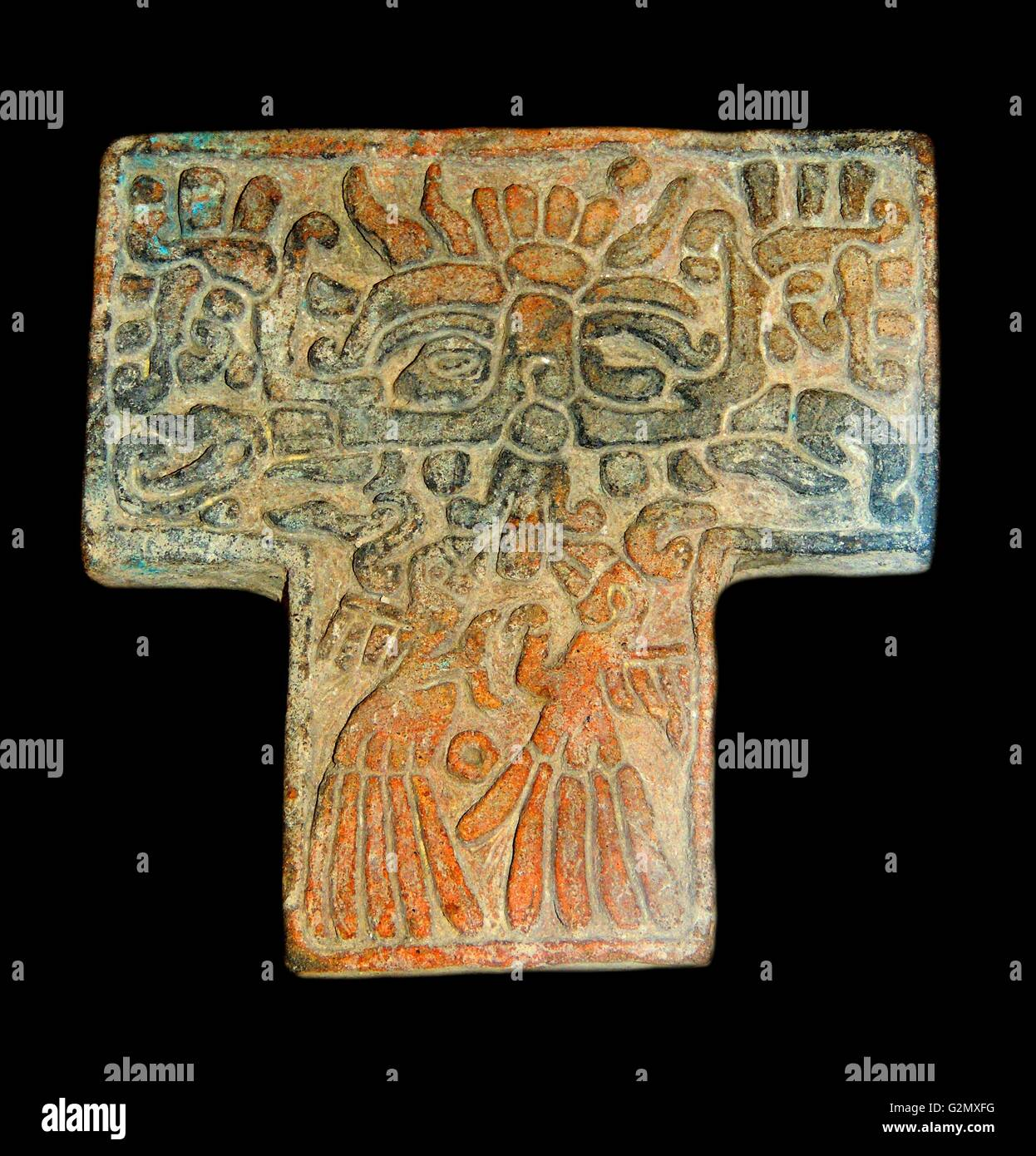 Pottery stamps used to imprint designs on textiles 900 A.D. - Stock Image